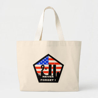 911 never forget large tote bag