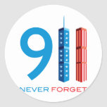 911 Never Forget Round Stickers