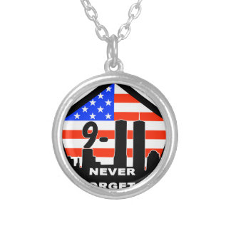 911 never forget silver plated necklace