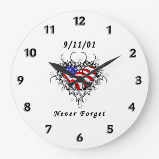 911 Tattoo Never Forget Large Clock