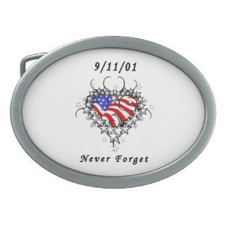 911 Tattoo Never Forget Oval Belt Buckle