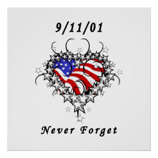 911 Tattoo Never Forget Poster