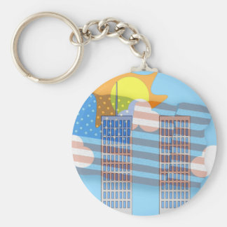 911 Tribute - Plain Basic Round Button Keychain
