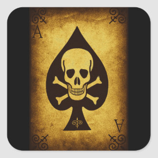 917 SKULL DEATH CARD POKER PLAYER GANGS GANGSTER D SQUARE STICKER