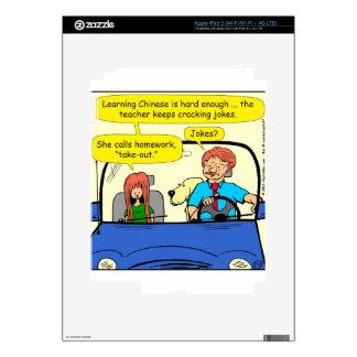 917 Teacher calls homework takeout cartoon iPad 3 Skins