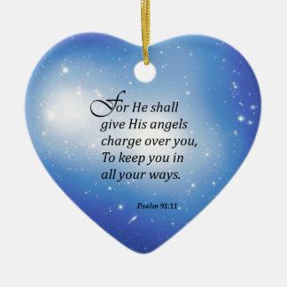 91:11 del salmo adorno de cerámica en forma de corazón