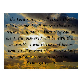91:14 del salmo del verso de la biblia - 16 póster