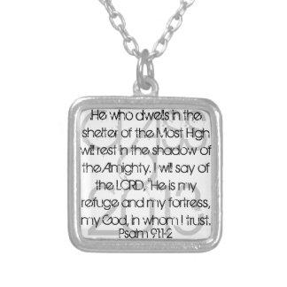 91:1 graduado del salmo del verso de la biblia - 2 colgante cuadrado