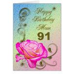 91.a tarjeta de cumpleaños color de rosa elegante