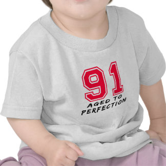 91 Aged To Perfection Birthday Design Tee Shirts