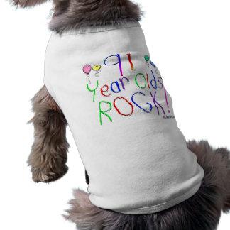 ¡91 años de la roca! camisa de perro