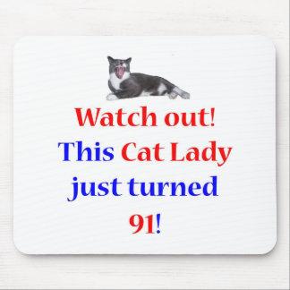 91 Cat Lady Mouse Pad