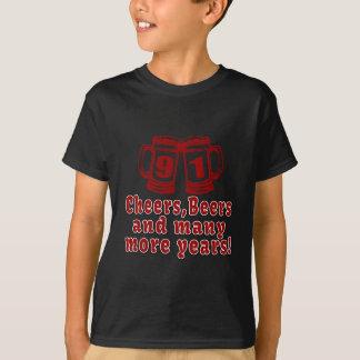 91 Cheers Beer Birthday T-Shirt
