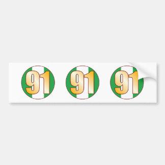 91 NIGERIA Gold Bumper Sticker