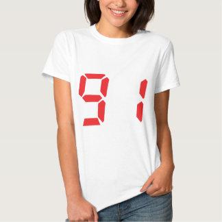 91 noventa y uno números digitales del despertador poleras