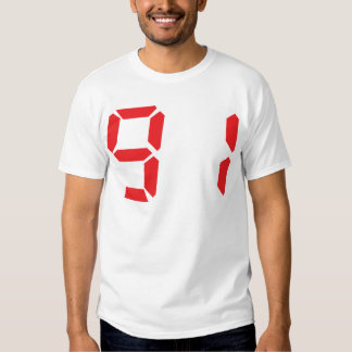 91 noventa y uno números digitales del despertador remera