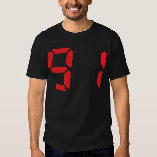 91 noventa y uno números digitales del despertador remeras