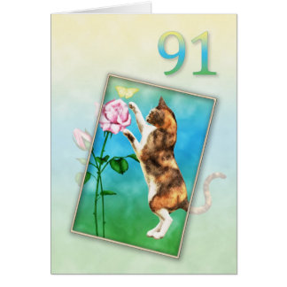 91.o Cumpleaños con un gato juguetón Tarjeta De Felicitación