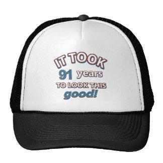 91.os diseños del cumpleaños del año gorras