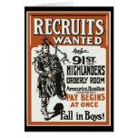 91.os montañeses Bagpiles WWI del reclutamiento Tarjeta
