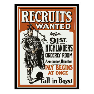 91.os montañeses Bagpiles WWI del reclutamiento Postales