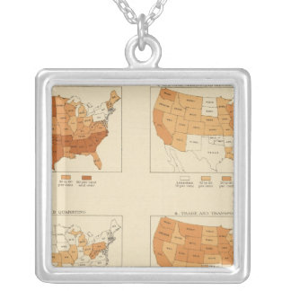 91 Proportions in occupations 1900 Square Pendant Necklace