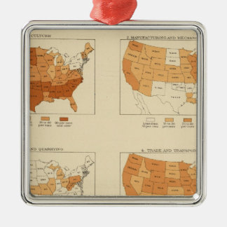 91 Proportions in occupations 1900 Square Metal Christmas Ornament