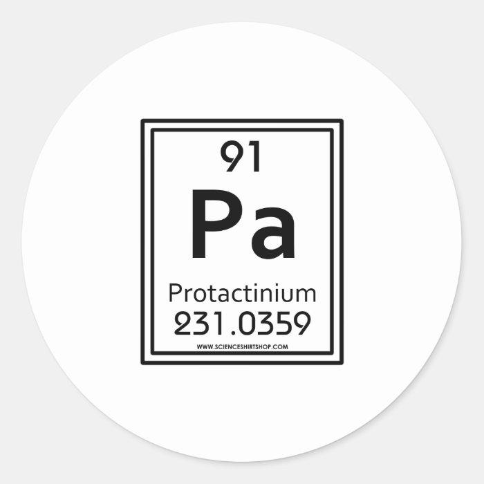 91 Protactinium Classic Round Sticker