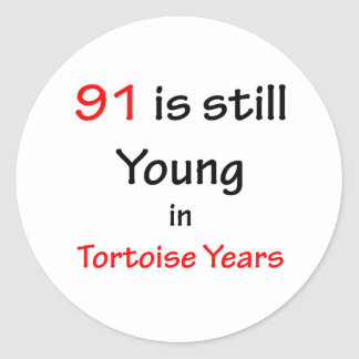 91 Tortoise Years Classic Round Sticker