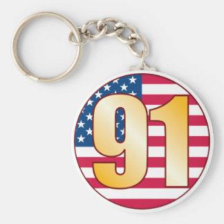 91 USA Gold Basic Round Button Keychain