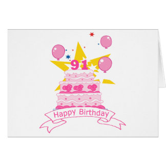 91 Year Old Birthday Cake Card