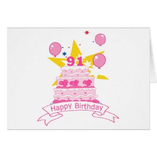91 Year Old Birthday Cake Card