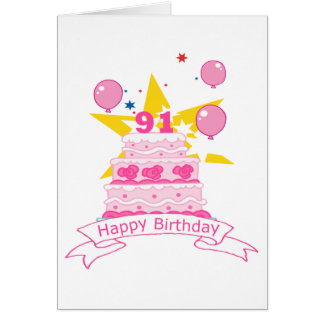 91 Year Old Birthday Cake Cards
