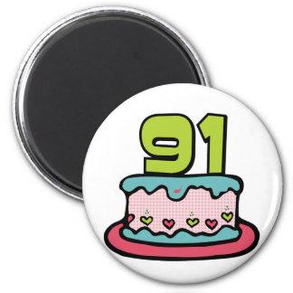 91 Year Old Birthday Cake Magnet