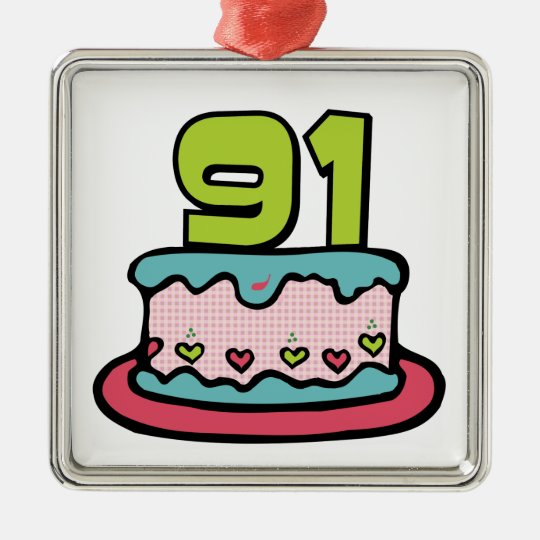 91 Year Old Birthday Cake Metal Ornament