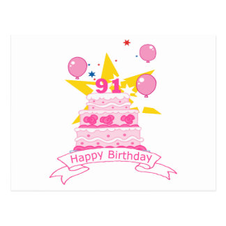 91 Year Old Birthday Cake Post Card
