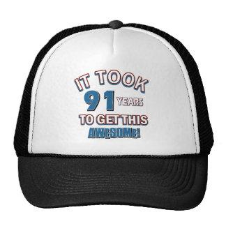 91 year old birthday designs trucker hat