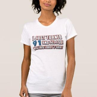 91  year old birthday designs tee shirts