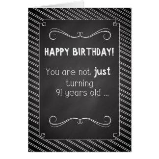 91 Year Old Happy Birthday, Chalkboard Look Cards