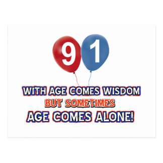 91 year old wisdom birthday designs post card