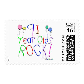 91 Year Olds Rock ! Stamp