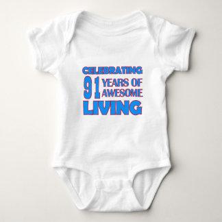 91 years old birthday designs shirt