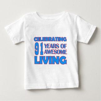 91 years old birthday designs tee shirt