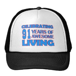 91 years old birthday designs trucker hat