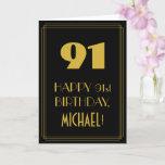 "[ Thumbnail: 91st Birthday – Art Deco Inspired Look ""91"" & Name Card ]"