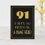 "[ Thumbnail: 91st Birthday ~ Art Deco Inspired Look ""91"" & Name Card ]"