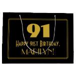 "[ Thumbnail: 91st Birthday — Art Deco Inspired Look ""91"" & Name Gift Bag ]"