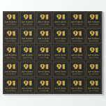 """[ Thumbnail: 91st Birthday – Art Deco Inspired Look """"91"""" & Name Wrapping Paper ]"""