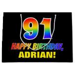 [ Thumbnail: 91st Birthday: Bold, Fun, Simple, Rainbow 91 Gift Bag ]
