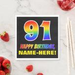 [ Thumbnail: 91st Birthday: Bold, Fun, Simple, Rainbow 91 Napkins ]